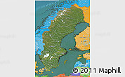 Satellite 3D Map of Sweden, political shades outside, satellite sea
