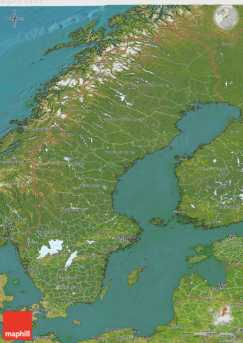 Satellite D Map Of Sweden - Sweden map topographic