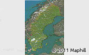 Satellite 3D Map of Sweden, semi-desaturated, land only