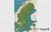 Satellite 3D Map of Sweden, shaded relief outside, satellite sea