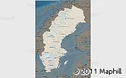 Shaded Relief 3D Map of Sweden, darken