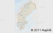 Shaded Relief 3D Map of Sweden, lighten