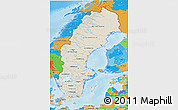 Shaded Relief 3D Map of Sweden, political outside, shaded relief sea