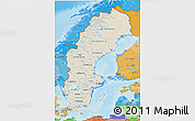 Shaded Relief 3D Map of Sweden, political shades outside, shaded relief sea