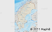 Shaded Relief 3D Map of Sweden, semi-desaturated, land only