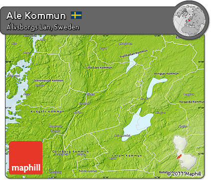 Free Physical Map Of Ale Kommun - Sweden kommun map