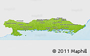 Physical Panoramic Map of Blekinge Län, single color outside