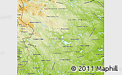 Physical Map of Dalarnes Län