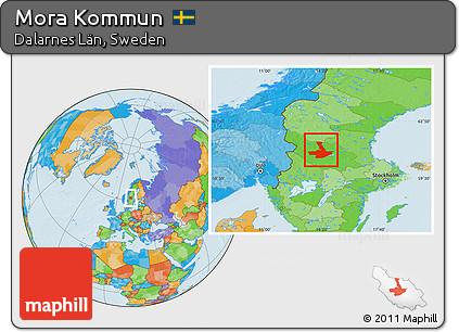 Free Political Location Map Of Mora Kommun - Sweden map mora
