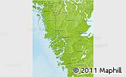 Physical 3D Map of Göteborgs och Bohus Län