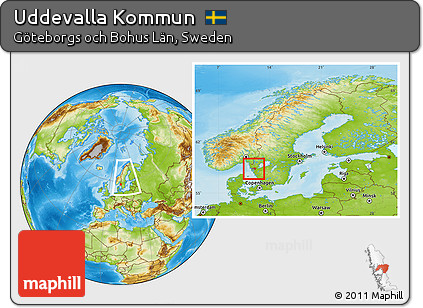 Free Physical Location Map Of Uddevalla Kommun Within The Entire - Sweden map uddevalla