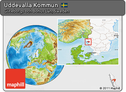 Free Physical Location Map Of Uddevalla Kommun Highlighted Country - Sweden map uddevalla