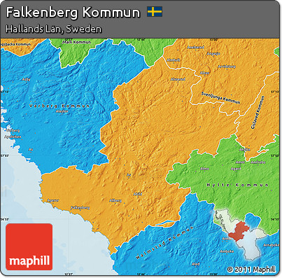 Free Political Map Of Falkenberg Kommun - Sweden kommun map