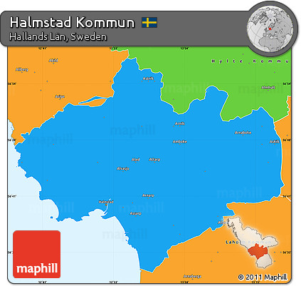 Free Political Simple Map Of Halmstad Kommun - Sweden kommun map