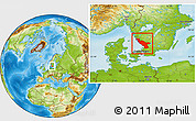 Physical Location Map of Hallands Län