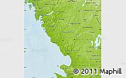Physical Map of Hallands Län
