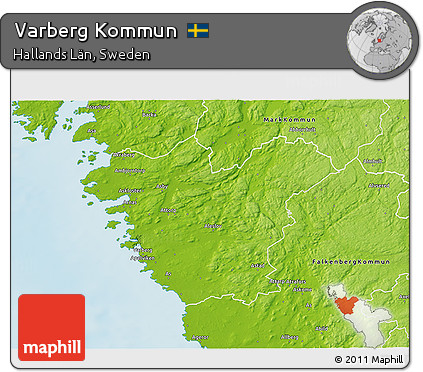 Free Physical D Map Of Varberg Kommun - Varberg sweden map