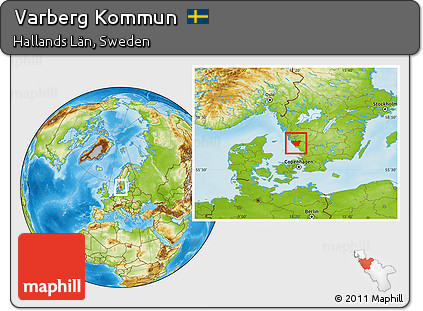 Free Physical Location Map Of Varberg Kommun - Varberg sweden map