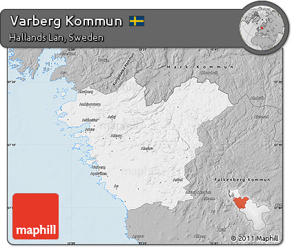 Free Gray Map Of Varberg Kommun - Varberg sweden map