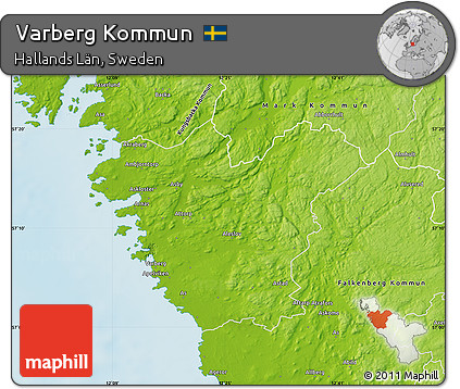 Free Physical Map Of Varberg Kommun - Sweden kommun map
