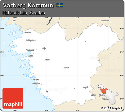 Free Classic Style Simple Map Of Varberg Kommun - Varberg sweden map