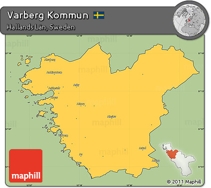 Free Savanna Style Simple Map Of Varberg Kommun Cropped Outside - Varberg sweden map