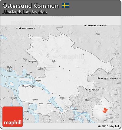 Free Silver Style D Map Of Östersund Kommun - Sweden map ostersund