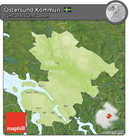 Free Physical Map Of Östersund Kommun Satellite Outside - Sweden map ostersund