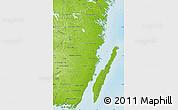 Physical Map of Kalmar Län