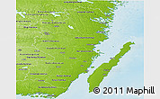 Physical Panoramic Map of Kalmar Län