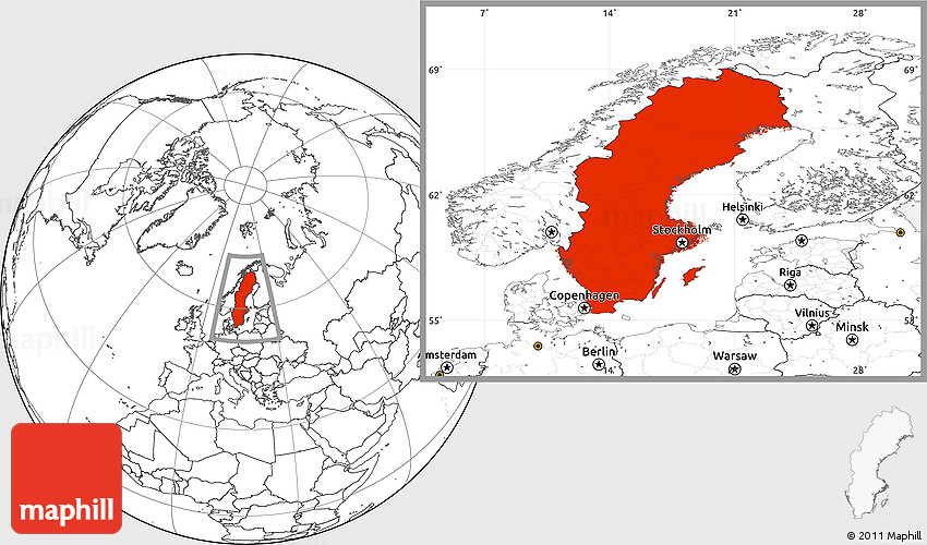 Blank Location Map Of Sweden - Sweden map blank