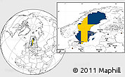 Flag Location Map of Sweden, blank outside