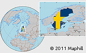 Flag Location Map of Sweden, gray outside
