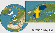 Flag Location Map of Sweden, satellite outside
