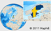 Flag Location Map of Sweden, shaded relief outside