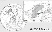 Gray Location Map of Sweden, blank outside