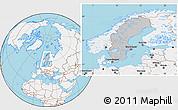 Gray Location Map of Sweden, lighten, land only