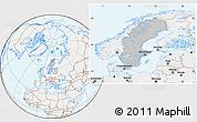 Gray Location Map of Sweden, lighten