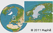 Gray Location Map of Sweden, satellite outside