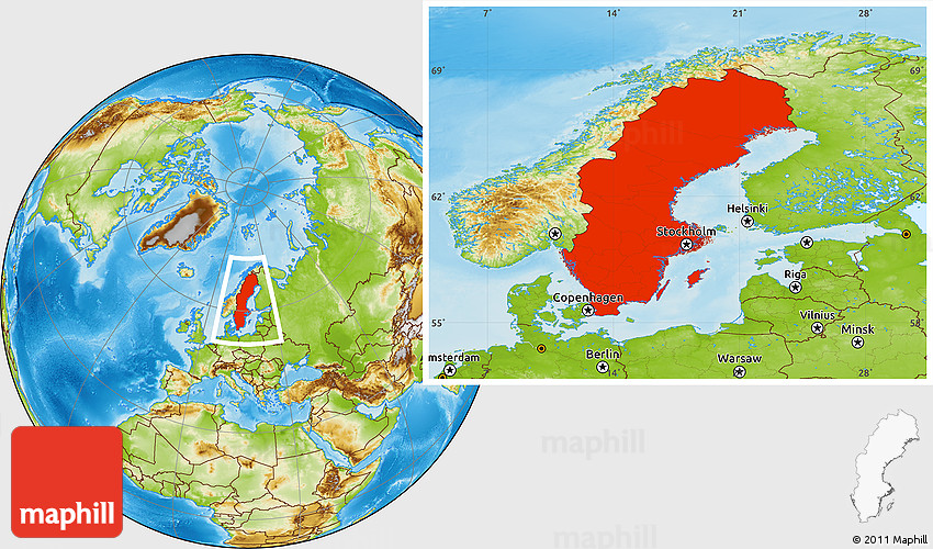 Physical Location Map Of Sweden - Sweden map location