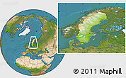 Physical Location Map of Sweden, satellite outside