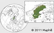 Satellite Location Map of Sweden, blank outside