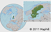 Satellite Location Map of Sweden, gray outside, hill shading