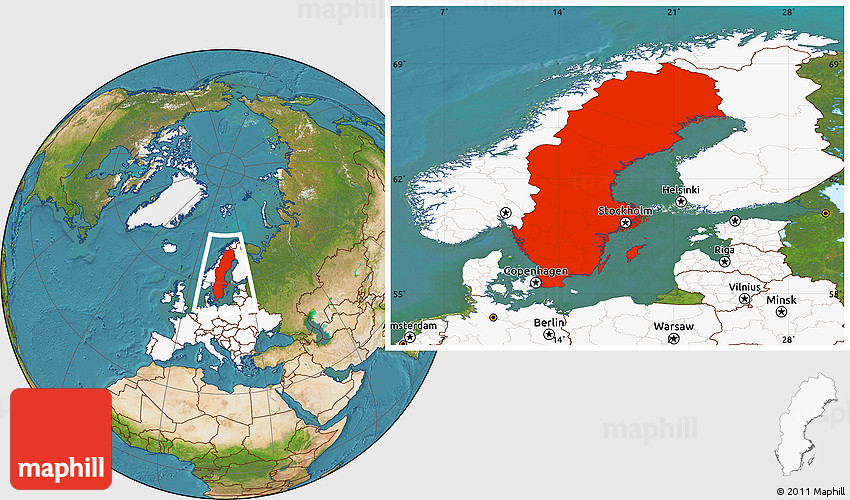 Satellite Location Map Of Sweden Highlighted Continent - Sweden map location