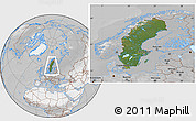 Satellite Location Map of Sweden, lighten, desaturated