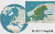 Satellite Location Map of Sweden, lighten, land only