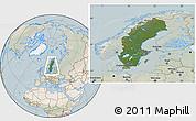 Satellite Location Map of Sweden, lighten