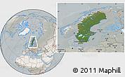 Satellite Location Map of Sweden, lighten, semi-desaturated