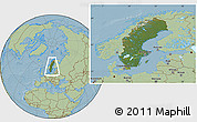 Satellite Location Map of Sweden, savanna style outside, hill shading