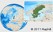 Satellite Location Map of Sweden, shaded relief outside